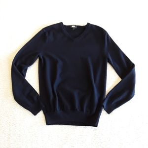J.Crew Navy Wool V-neck Sweater